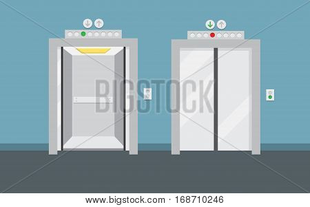 Open and closed elevator doors. Flat design vector illustration