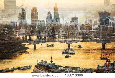 City of London business aria and River Thames at sunset,  Multiple exposure image
