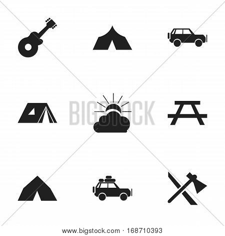 Set Of 9 Editable Travel Icons. Includes Symbols Such As Refuge, Sunrise, Voyage Car And More. Can Be Used For Web, Mobile, UI And Infographic Design.