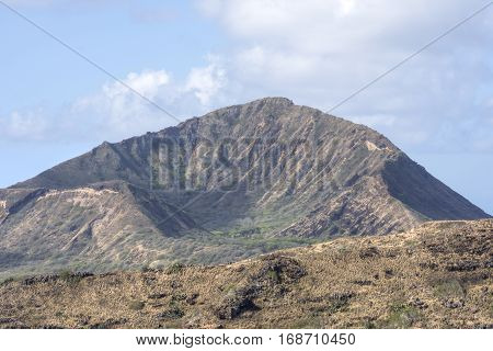 Eastern side of Koko Crater on sunny day shot with telephoto lens on Oahu