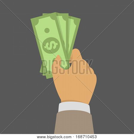 Hand with money isolated on dark background. Businessman hand holding bills of Money, Banknotes. Big pile of dollars USA in the hands. Business concept. Vector illustration in flat style.