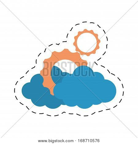 cloud gear corporate business technology cut line vector illustration eps 10