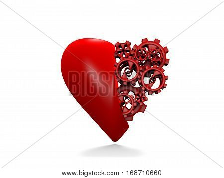 , 3d render, The heart and gears on a white background