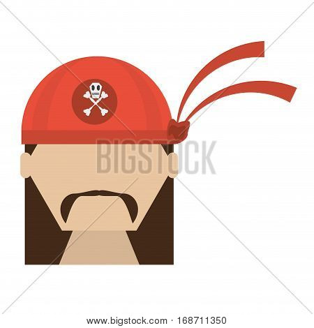 pirate red bandanna corsair bones vector illustration eps 10