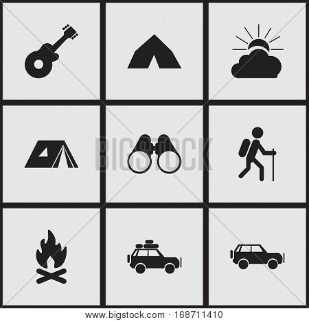 Set Of 9 Editable Trip Icons. Includes Symbols Such As Sunrise, Voyage Car, Fever And More. Can Be Used For Web, Mobile, UI And Infographic Design.