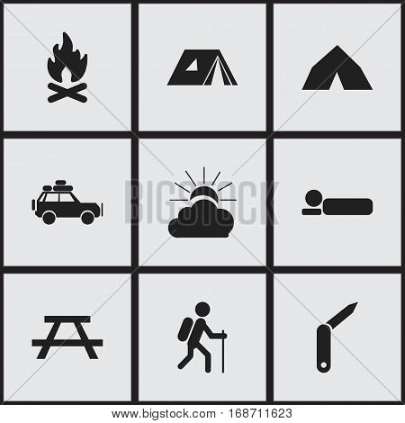 Set Of 9 Editable Trip Icons. Includes Symbols Such As Clasp-Knife, Bedroll, Shelter And More. Can Be Used For Web, Mobile, UI And Infographic Design.