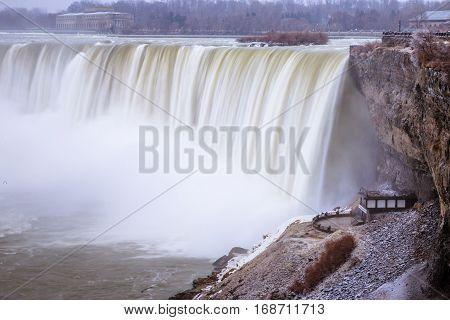 View of Niagara Falls during winter, Ontario, Canada