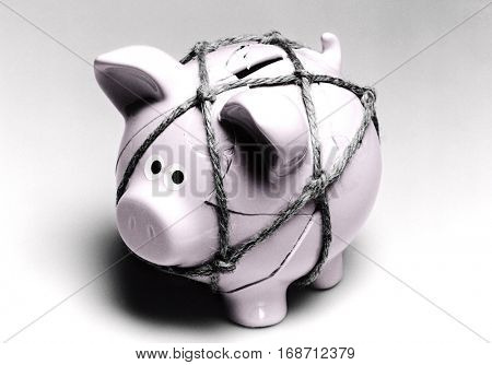 Broken Piggy Bank Reassembled with Twine