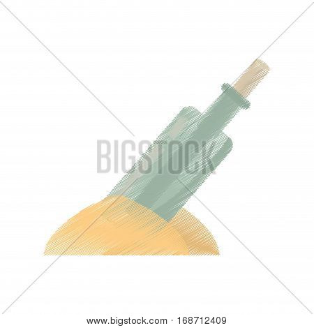 drawing bottle with message letter sand vector illustration eps 10