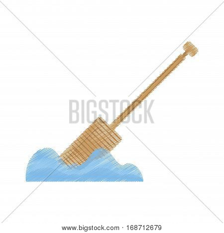 drawing rowing wooden boat pirate tool vector illustration eps 10