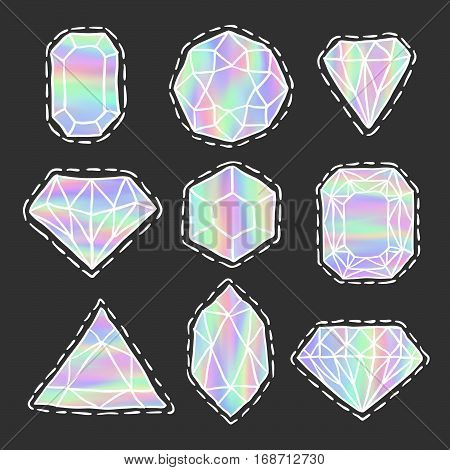 Diamonds patch badges set. Holographic gems doodles. Trendy sketch vector. Stickers with jewelry stones. Brilliants and crystals. Fashionable jewel pins.