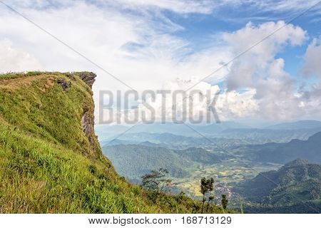 Beautiful landscape sky and high stone cape of mountain on view point as a symbol of Phu Chi Fa National Forest Park in Chiang Rai Province Thailand