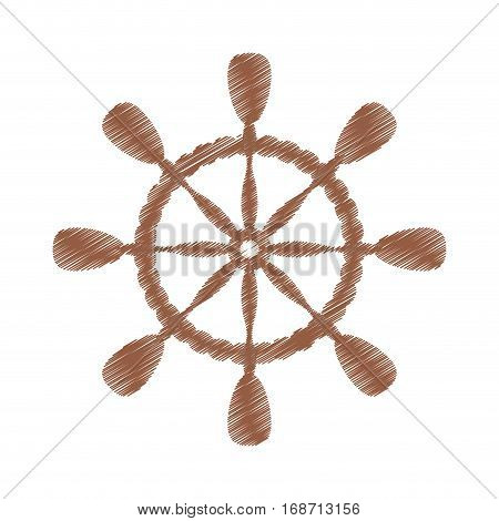 drawing wheel steering boat helm vector illustration eps 10