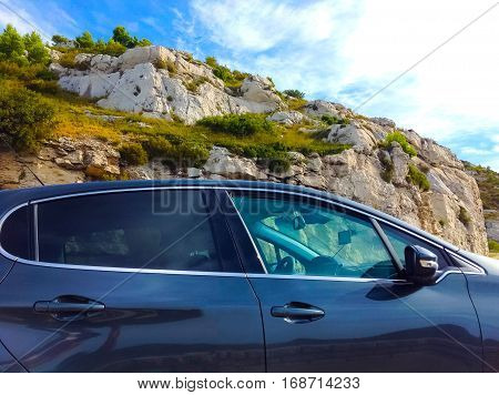 Offroad car concept with mountains at France