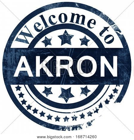 akron stamp on white background