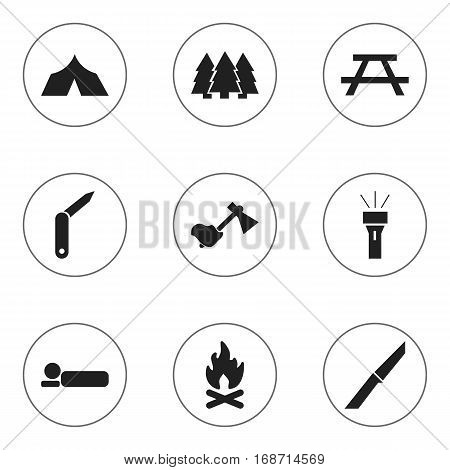 Set Of 9 Editable Trip Icons. Includes Symbols Such As Desk, Bedroll, Pine And More. Can Be Used For Web, Mobile, UI And Infographic Design.
