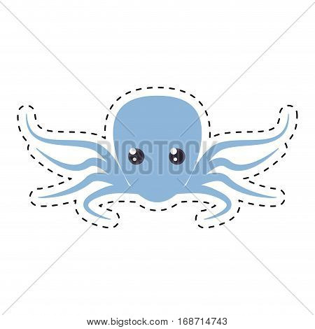purple octopus sea life cut line vector illustration eps 10