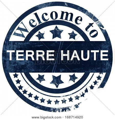 terre haut stamp on white background