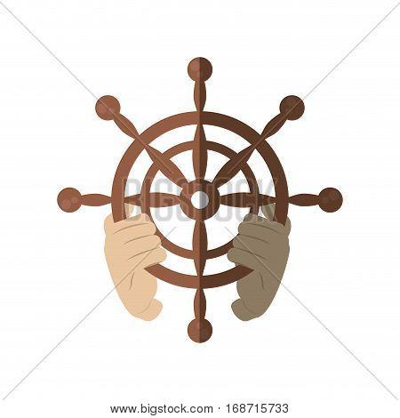 hand holding wheel steering boat helm shadow vector illustration eps 10