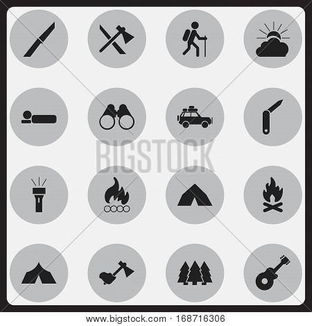 Set Of 16 Editable Trip Icons. Includes Symbols Such As Knife, Clasp-Knife, Pine And More. Can Be Used For Web, Mobile, UI And Infographic Design.