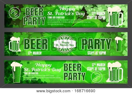 Vector Happy St. Patrick's Day beer party banners on the gradient dark green background with leaves of clover goblets of beer.