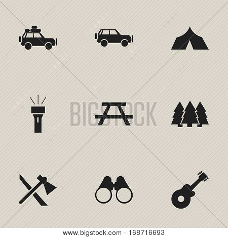 Set Of 9 Editable Trip Icons. Includes Symbols Such As Musical Instrument, Voyage Car, Sport Vehicle And More. Can Be Used For Web, Mobile, UI And Infographic Design.