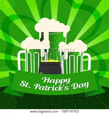Vector Happy St. Patrick's Day poster on the gradient dark green background with rays goblets of beer and cauldron with coins.