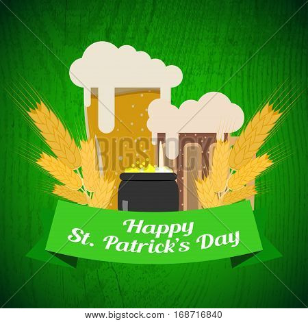 Vector Happy St. Patrick's Day poster on the gradient dark green background with wood pattern goblets of beer stripe and cauldron with coins.