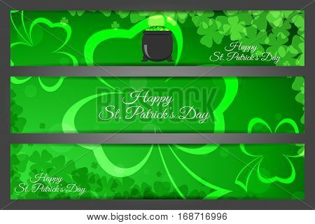 Vector Happy St. Patrick's Day banners on the gradient dark green background with leaves of clover text and cauldron.