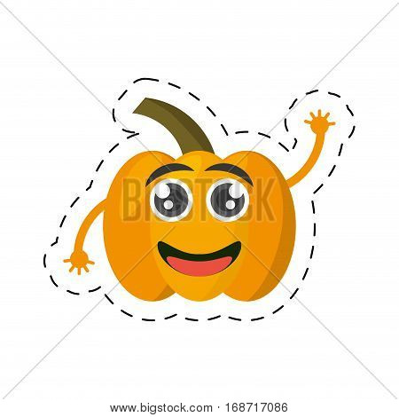 cartoon yellow pepper happy vegetable cut line vector illustration eps 10