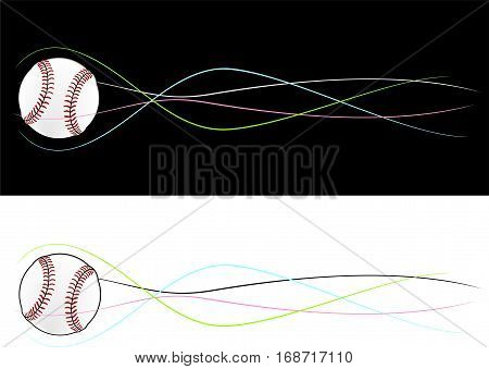 Baseball flying ball in black and white in rotation