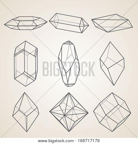 Set of geometric crystals. Geometric shapes.