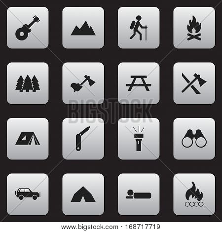 Set Of 16 Editable Travel Icons. Includes Symbols Such As Sport Vehicle, Tepee, Musical Instrument And More. Can Be Used For Web, Mobile, UI And Infographic Design.