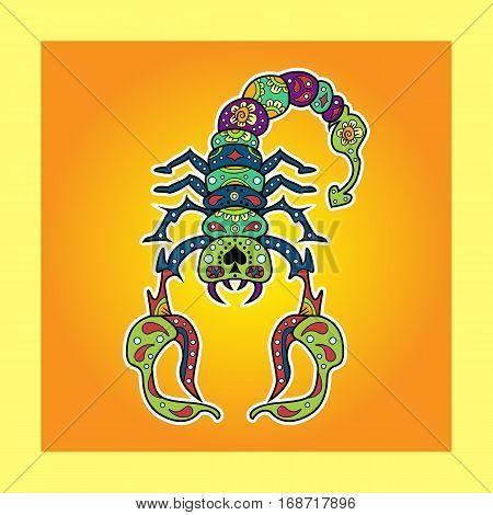Colored Sugar Scorpio with Doodle ornament. Vector illustration.