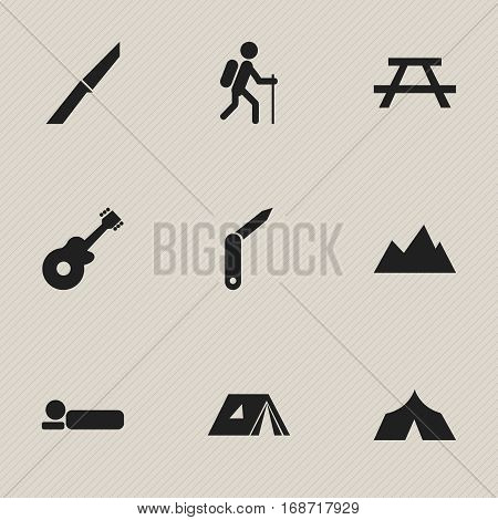Set Of 9 Editable Camping Icons. Includes Symbols Such As Clasp-Knife, Bedroll, Desk And More. Can Be Used For Web, Mobile, UI And Infographic Design.
