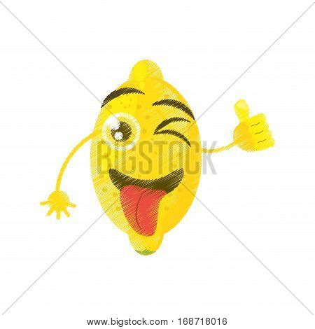 lemon expressions silly face icon, vector illustration