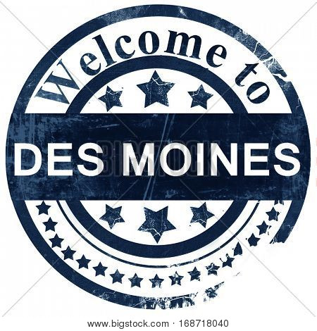 des moines stamp on white background