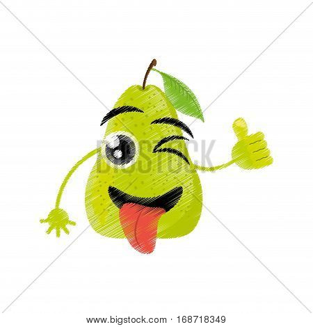 pear expressions silly face icon, vector illustration