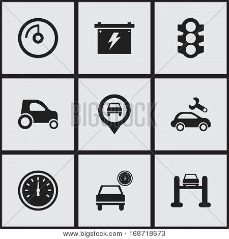 Set Of 9 Editable Transport Icons. Includes Symbols Such As Stoplight, Speed Display, Automotive Fix And More. Can Be Used For Web, Mobile, UI And Infographic Design.