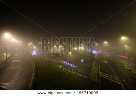 Prague, Czechia - November, 21, 2016: night street in Prague, Czechia