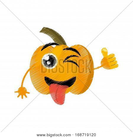 pumpkin expressions silly face icon, vector illustration
