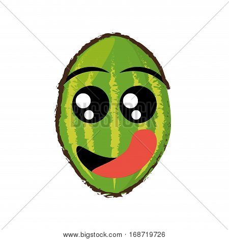 watermelon expressions hungry face icon, vector illustration