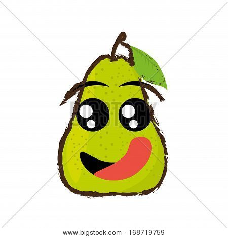 pear expressions hungry face icon, vector illustration