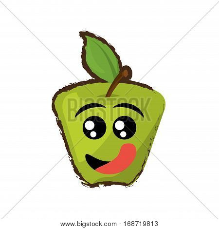 green apple expressions hungry face icon, vector illustration