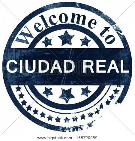 Ciudad real stamp on white background