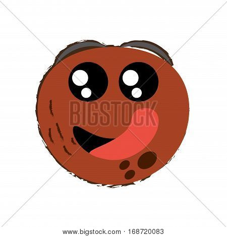 coconut expressions hungry face icon, vector illustration