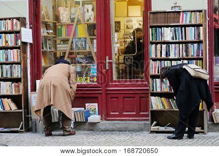 Prague, Czechia - November, 21, 2016: book shop in Prague, Czechia