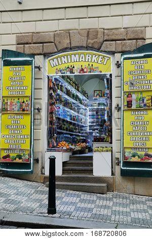 Prague, Czechia - November, 21, 2016: minimarket in a center of Prague, Czechia