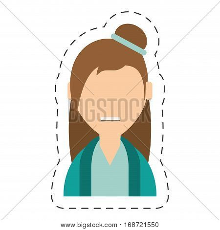 people casual woman with hair bow icon image, vector illustration