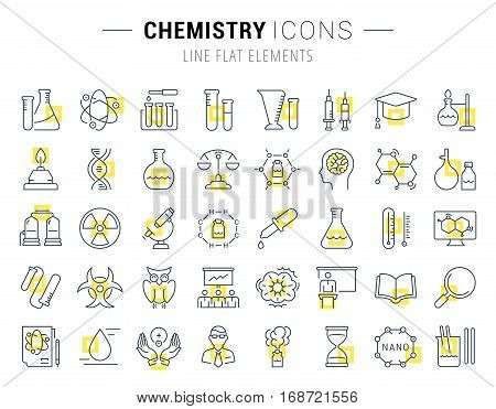 Set vector line icons sign and symbols in flat design chemistry with elements for mobile concepts and web apps. Collection modern infographic logo and pictogram.